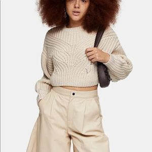 Topshop Butterfly crop Top sweater in ivory